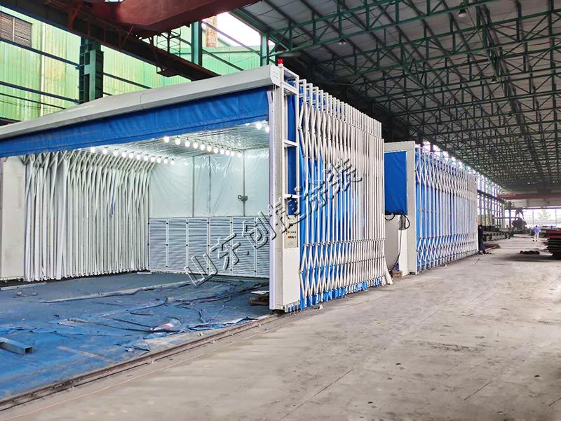南京某钢构公司伸缩喷漆房+UV光氧废气处理项目